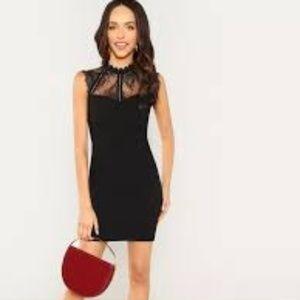 Black SHEIN Sheer Lace Medi Dress NWOT Sz Sm